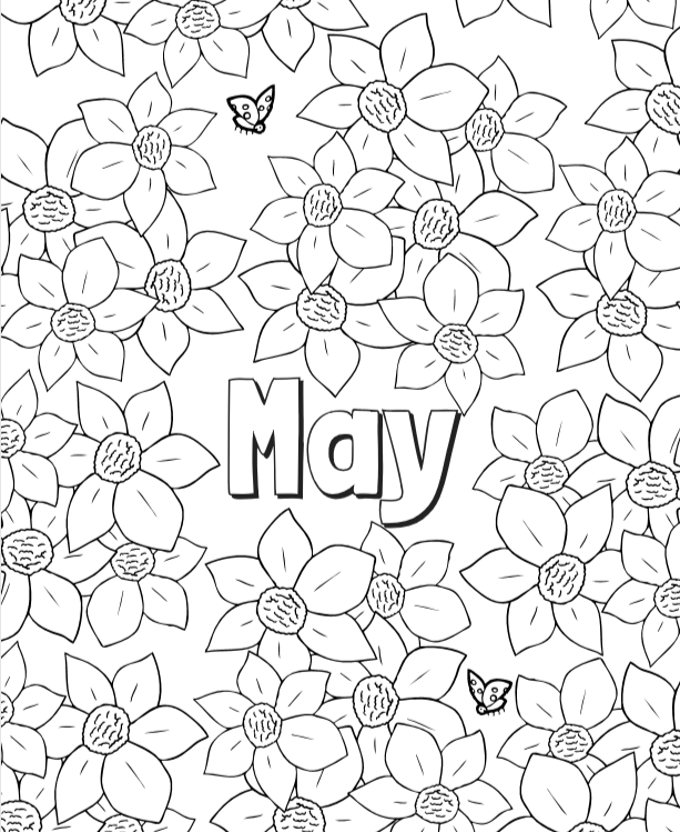 May Coloring Page | Cookies & Racecars