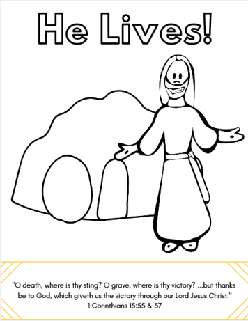 He Lives coloring page