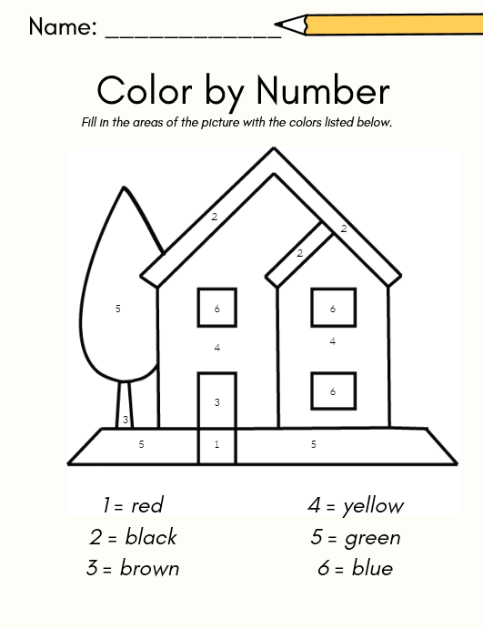 house color by number worksheet