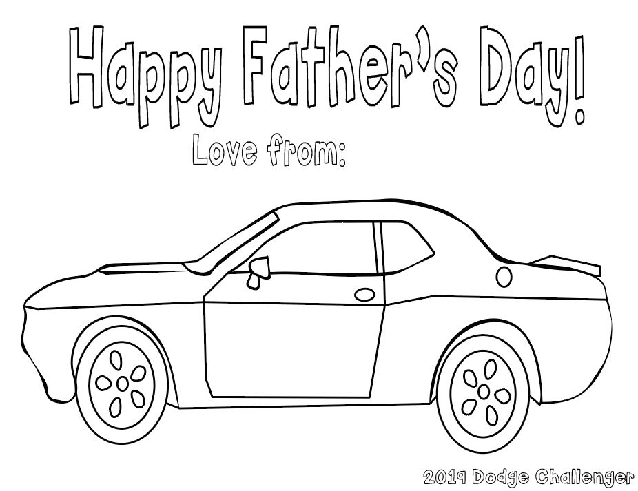 Happy Father S Day A Dodge Challenger Coloring Page Cookies Racecars