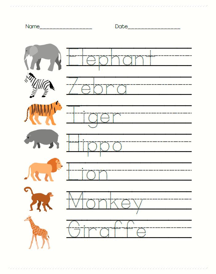 Safari Animal Math And Writing Worksheets For PreK – Cookies & Racecars