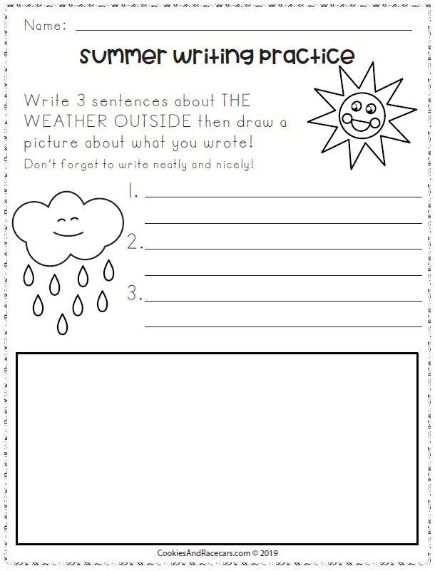 summer writing practice for kindergarten
