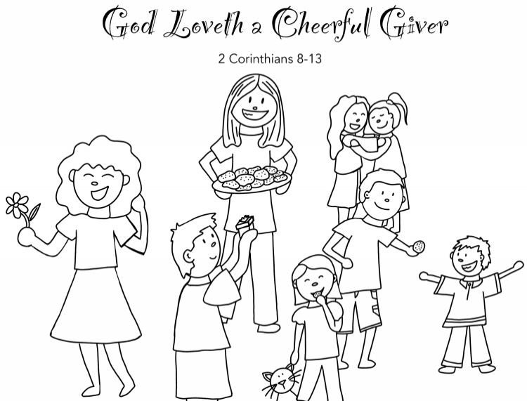 Giving Cheerfully Coloring Page
